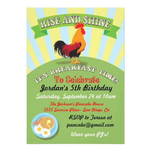 Rise And Shine Breakfast Birthday Party Invitation 5 X 7