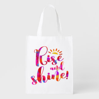 Rise and Shine Motivational Morning Wake Up Quote Reusable Grocery Bag