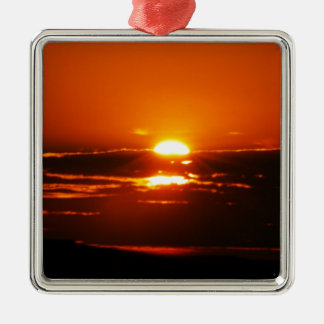 Rise And Shine Sunrise Square Metal Christmas Ornament