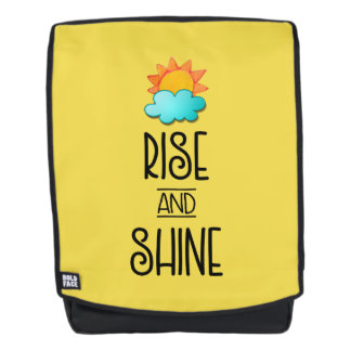 Rise and Shine Typography With Sun and Cloud Backpack