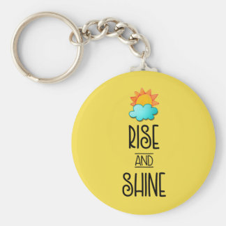 Rise and Shine Typography With Sun and Cloud Keychain
