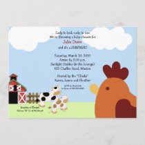 Rise 'n' Shine Barnyard Cow Chicken Baby Shower Invitation