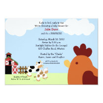Rise 'n' Shine Barnyard Cow Chicken Baby Shower Invitation