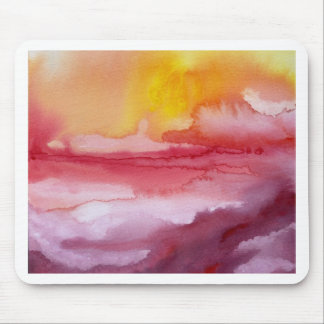 Rise - Red Abstract Ombre Watercolor Sunsrise Mouse Pad