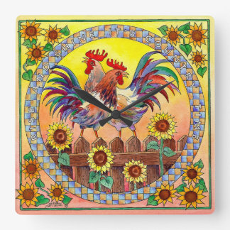 RISE & SHINE ROOSTER by SHARON SHARPE Square Wall Clock