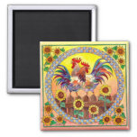 RISE & SHINE ROOSTERS by SHARON SHARPE 2 Inch Square Magnet