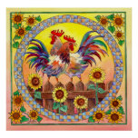 RISE & SHINE ROOSTERS by SHARON SHARPE Poster