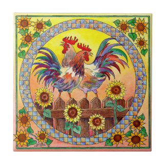 RISE & SHINE ROOSTERS by SHARON SHARPE Small Square Tile