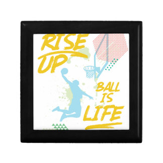 Rise Up. Ball Is Life. Basketball Baller Coach Jewelry Box