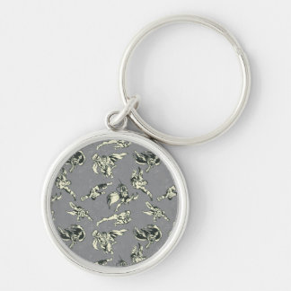Rise Up Superhero Pattern Silver-Colored Round Keychain