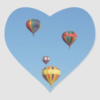Rising Balloons Above Trees & Mountains Heart Sticker