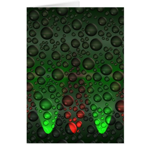 Rising Bubbles Green/Red Greetings Card