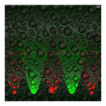 Rising Bubbles Green/Red Poster