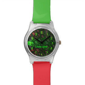 Rising Bubbles (Green&Red) Wristwatches