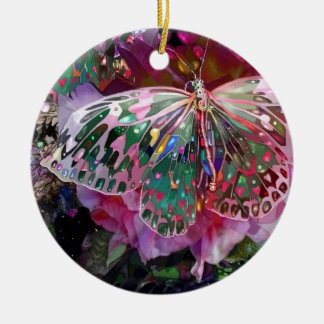 Rising Dawn Butterfly Double-Sided Ceramic Round Christmas Ornament