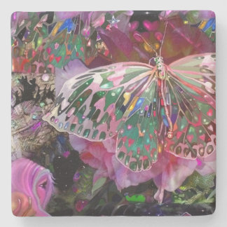 Rising Dawn Butterfly Stone Beverage Coaster