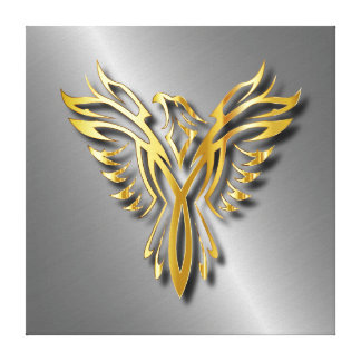 Rising Golden Phoenix Gold Flames With Shadows Canvas Print