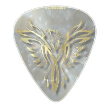 Rising Golden Phoenix Gold Flames With Shadows Pearl Celluloid Guitar Pick by HumusInPita at Zazzle