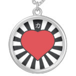 Rising Heart blk Round Pendant Necklace