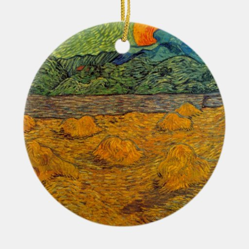 Rising Moon by Vincent van Gogh Double-Sided Ceramic Round Christmas Ornament
