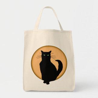 Rising Moon Cat Silhouette Tote Bag