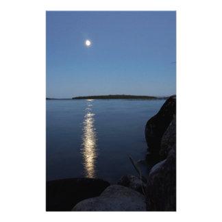 Rising Moon Over Whiskey Bay, St Joseph Island Stationery