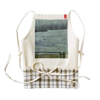 Rising sea swamping the surroundings zazzle HEART apron