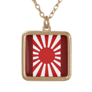 Rising Sun Flag 4 Gold Plated Necklace