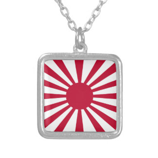 Rising Sun Flag Silver Plated Necklace