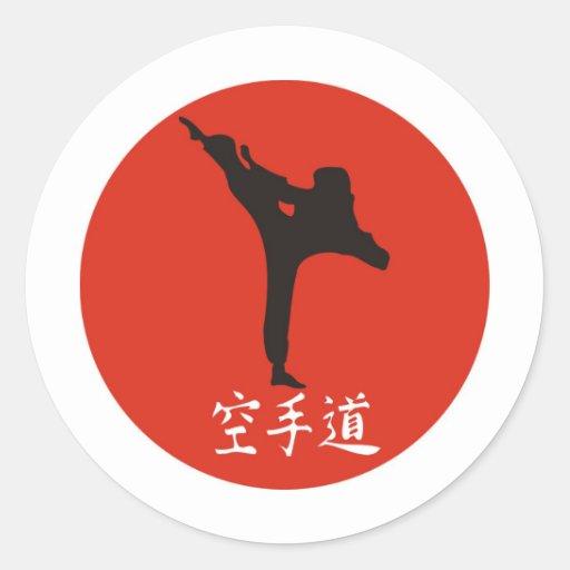 Rising Sun Karate Round Stickers