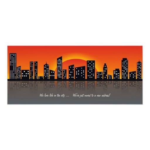 "Rising Sun Over City Moving Announcement 4"" X 9.25"" Invitation Card"