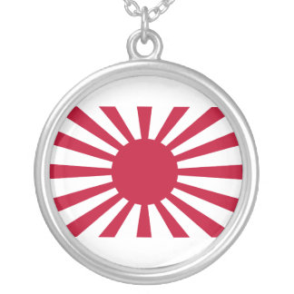 Rising Sun War Flag of the Imperial Japanese Army Silver Plated Necklace