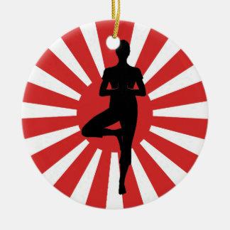 rising sun  yoga 3 Double-Sided ceramic round christmas ornament