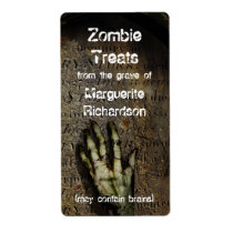Rising Zombie Hand Halloween Baking Label Shipping Label