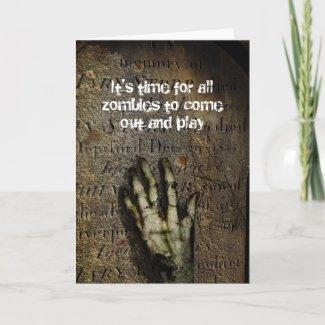 Rising Zombie Hand Halloween Card card