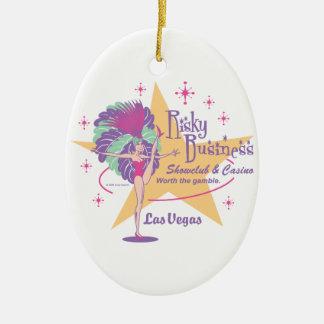Risky Business Las Vegas Showgirl Double-Sided Oval Ceramic Christmas Ornament