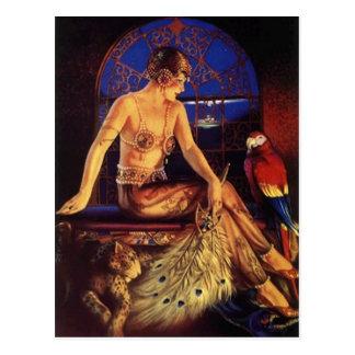 Risque Flapper Fashion Girl & Exotic pets Postcard