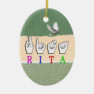 RITA ASL FINGERSPELLED NAME SIGN CERAMIC ORNAMENT