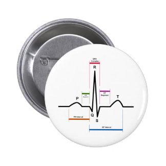 Ritmo del sino en un diagrama del electrocardiogra pin redondo de 2 pulgadas
