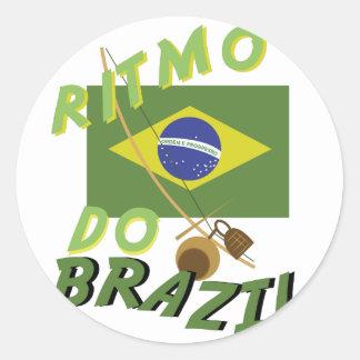Ritmo hace el Brasil Pegatina Redonda