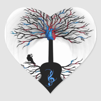 Ritmos del corazón - (arte surrealista de la pegatina en forma de corazón