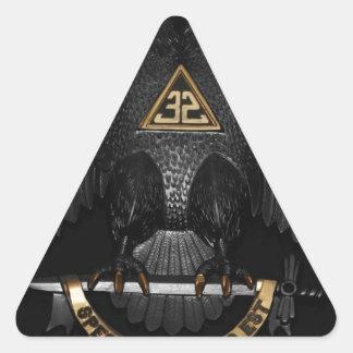 Rito escocés albañil Eagle de 32 grados Pegatina Triangular
