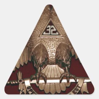 Rito escocés rojo de Eagle del doble del albañil Pegatina Triangular