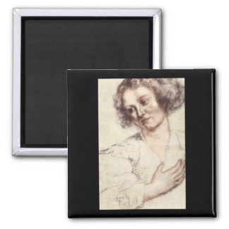 Ritratto di Donna', Sir_Studies of the Masters 2 Inch Square Magnet