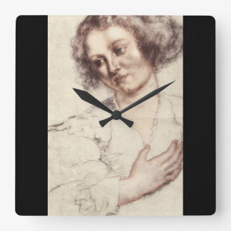 Ritratto di Donna', Sir_Studies of the Masters Square Wall Clock