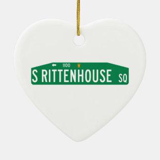 Rittenhouse Square, Philadelphia, PA Street Sign Double-Sided Heart Ceramic Christmas Ornament