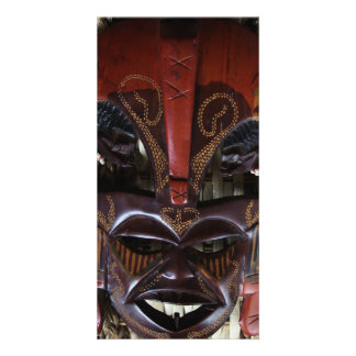 Ritual African Tribal Wooden Carved Mask Brown Red Card