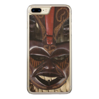 Ritual African Tribal Wooden Carved Mask Brown Red Carved iPhone 7 Plus Case