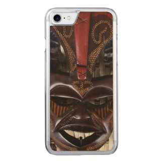 Ritual African Tribal Wooden Carved Mask Brown Red Carved iPhone 8/7 Case