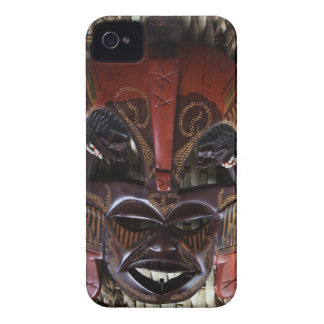 Ritual African Tribal Wooden Carved Mask Brown Red Case-Mate iPhone 4 Case